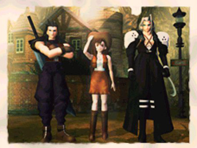 Zack, Tifa, and Sephiroth in Nibelheim