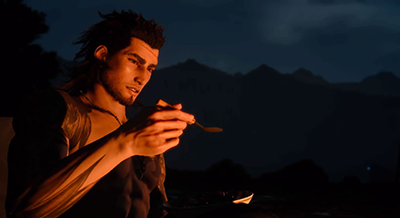 Gladio eating soup